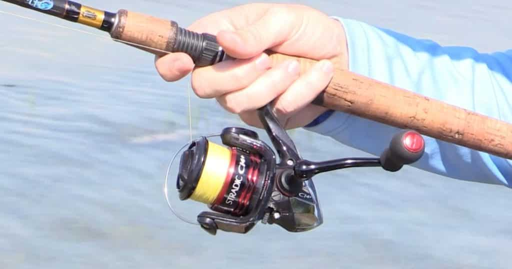 spinning reel on a casting rod